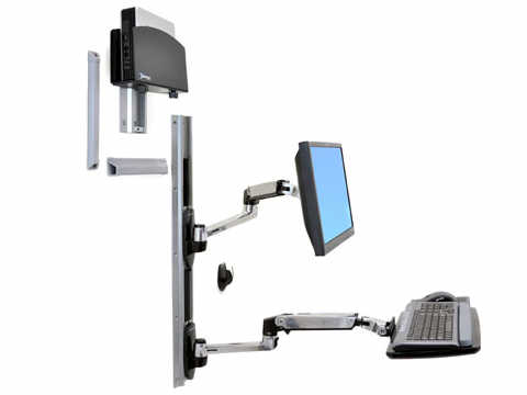 Ergotron Lx Wall Mount System With Small Cpu Holde