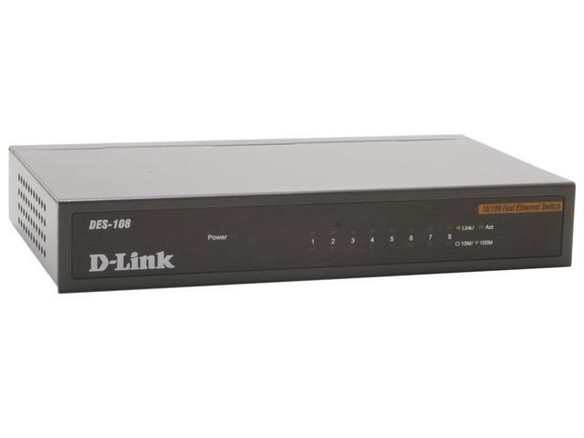 D-Link 8-Port 10/100Mbps Unmanaged Desktop Metal S