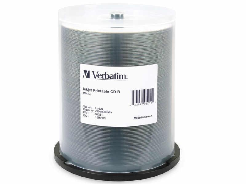 Verbatim Cd-R 80Min 700Mb 52X Silver Inkjet Printa