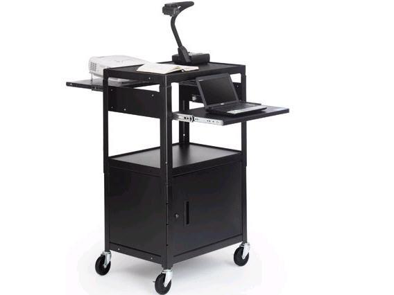 Bretford Adjustable Av Cabinet Cart With Two Slide Out Accessory Shelves. Black Color. at Sears.com