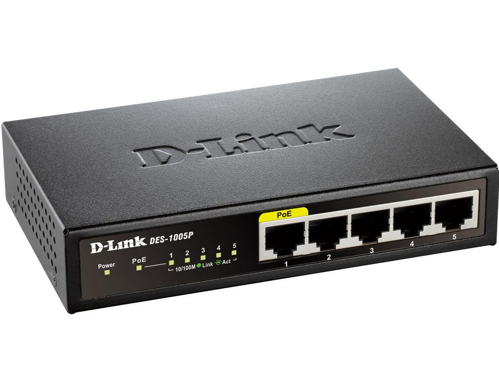 D-Link 5-Port 10/100 Metal Switch With 1 Poe Port