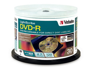 Verbatim Dvd-R 4.7Gb 16X Lightscribe 30Pk Spindle