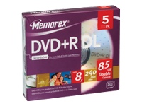 Imation 5 X Dvd+R Dl - 8.5 Gb ( 240Min ) 8X - Stor