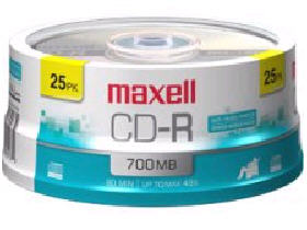 Maxell Cd-R 80Min 700Mb 48X 25Pc Spindle Color