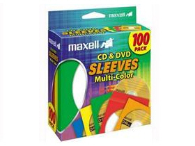 Maxell Cd & Dvd Sleeves Multi-Color 100Pk Paper