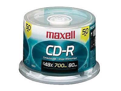 Maxell 700Mb, 80-Minute, 40X, 5.25 Inch Cd-R Disc,