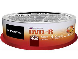 Sony Dvd-R Spindle 25-Pack 16X