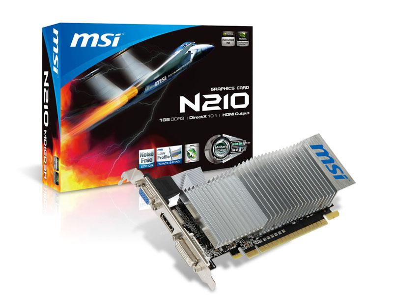 MSI Msi N210-Md1Gd3H/Lp Geforce 210 1Gb 64-Bit Ddr