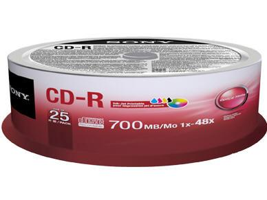 Sony Printable For Inkjet Printers, 48X Cd-R  25-P
