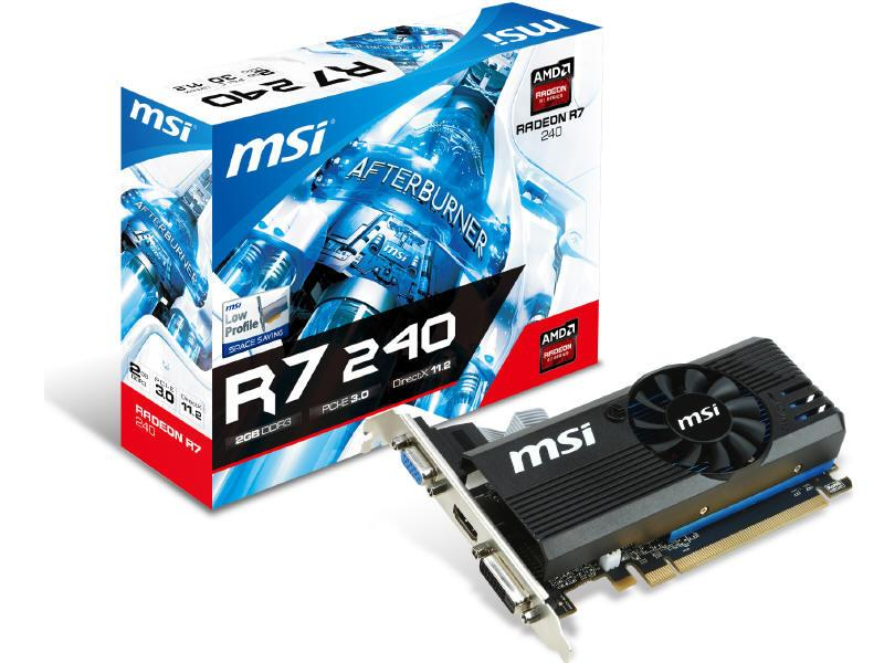 MSI R7 240 2Gd3 Lp, R7 240, Gddr5 2Gb, 730Mhz Gpu